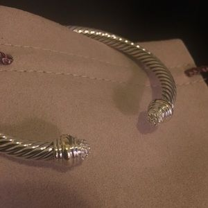 David Yurman 5mm Silver/18k/diamonds bracelet